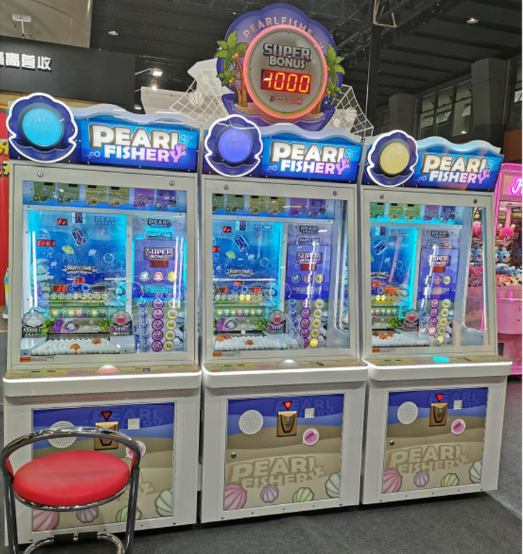 Redemption Pearl Fisher Happy Ball Pusher Lottery Ticket Game Machine For Amusement Room