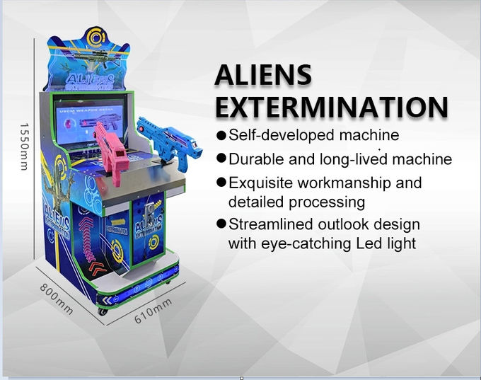 42'' Lcd Aliens Indoor Shooting Arcade Machine Coin Operated Two Players