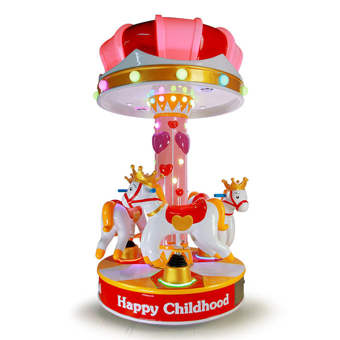 3 People Amusement Kids Ride Indoor Outdoor Playground Merry - Go - Round  Small Carousel 0