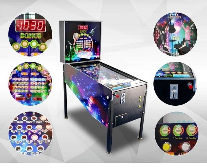 Wood Material Virtual Pinball Machine With 300+ Games Black Color
